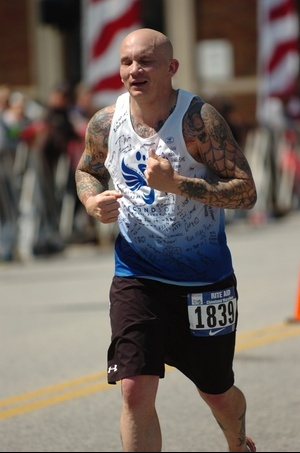Mike running in marathon